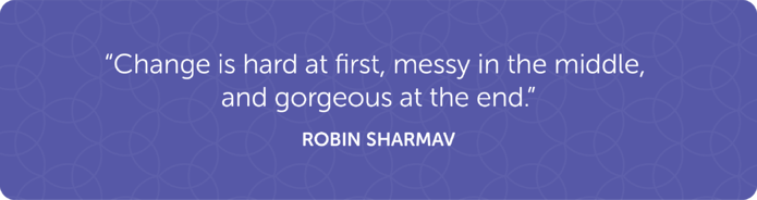 """Change is hard at first, messy in the middle, and gorgeous at the end."" -Robin Sharmav"